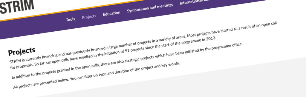 Klipp av projektsidan