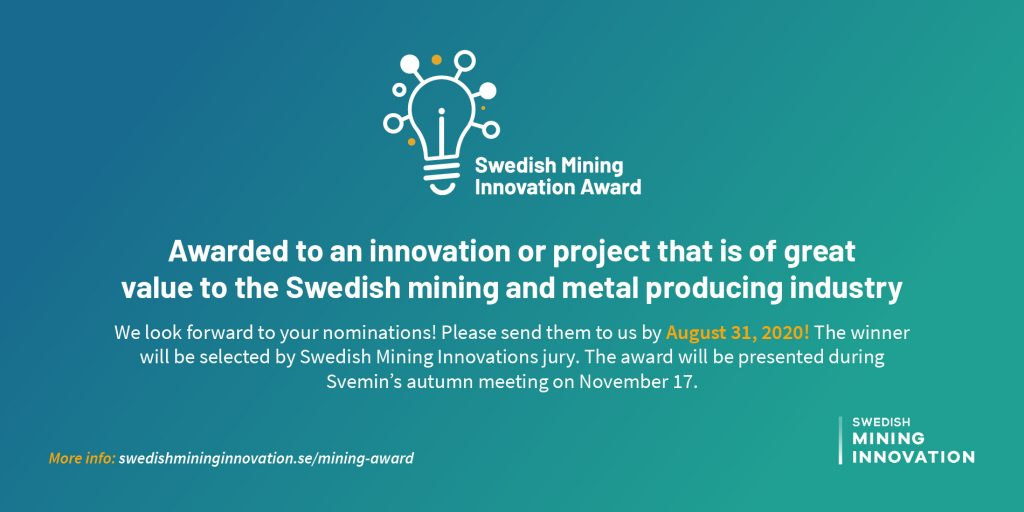 Swedish Mining Innovation Award - nominera