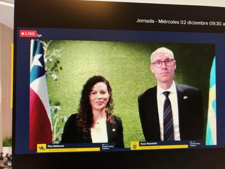 Elsa Stefenson, Trade Commissioner Chile Business Sweden och Oscar Stenström, Sveriges Ambassadör i Chile vid förkunnagörandet.