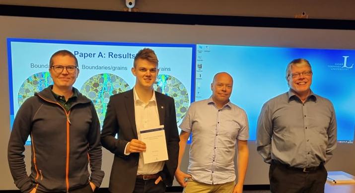 Simon Larsson (handledare), Albin Wessling (doktorand), Jörgen Kajberg (handledare), Bengt Wikman (diskutant)